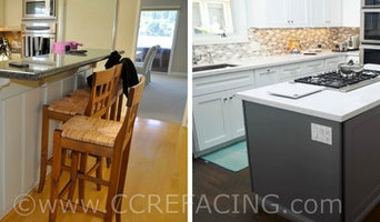Tiburon Kitchen Reface (White wall cabinets, Gray island cabinet)