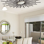 """WALLTAT - Sunburst Ceiling, Black, 84""""x84"""" - Sunburst Ceiling Decals will add a stunning overhead design appeal to any room.  Disguise boring surface mount lighting fixtures or enhance gorgeous chandeliers with these bold rays of cool!  This design proves that wall decals can be moved up to the ceiling to complete your rooms decor with DIY ease. Great for kitchens, dining rooms, living rooms, bedrooms and also on walls too for maximum impact. Design shipped as-is.  For ceiling use, solid center of design will need to be cut out to accommodate electrical wiring.  Available on Houzz in Size F in Black. Convert your plain ceilings into works of art in just minutes with DIY WALLTAT Wall Decals. Made in the U.S.A."""