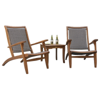 3 pc. Eucalyptus & Grey Wicker Lounge Set with Square Accent Table