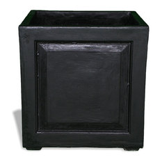 24x24 outdoor pots planters houzz amedeo design recessed panel square planter black 24x24x24 with drainage holes workwithnaturefo