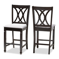 Reneau Gray Espresso Brown Finished Wood Counter Height Pub Chair Set Of 2