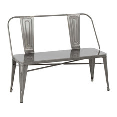 Oregon Industrial Metal Dining/Entryway Bench In Clear Brushed Silver