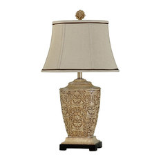 Elegant StyleCraft Home Collection   Traditional Carved Table Lamp   Table Lamps