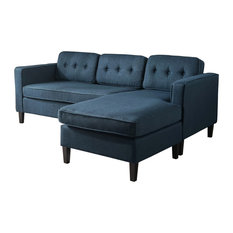 Gdfstudio Vivian Mid Century Fabric Chaise Sectional Sofa Navy Blue Sofas