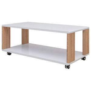 VidaXL High Gloss Rectangular Coffee Table, White and Brown