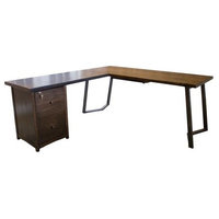 Arkwright Wood and Steel L-Shaped Desk - Left Facing, Tobacco Finish