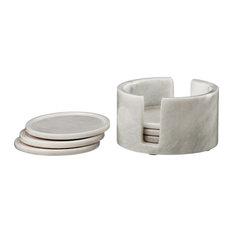 Dionysus Marble 6-Piece Coaster Set With Caddie, Pearl White
