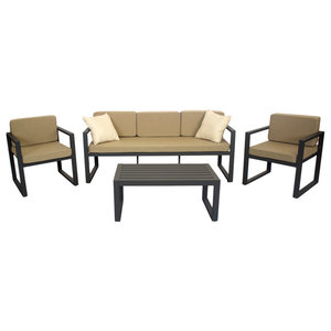 Outdoor 4-Piece Munich Furniture Set With 3-Seater Sofa, Anthracite