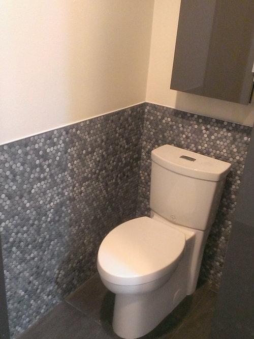 Master Bathroom Large Wave Tile Shower Penny Tile