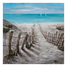 """""""Summer by the Beach"""" Hand Painted Canvas Art, 40""""x40"""""""