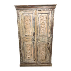 Consigned Antique Rustic Cabinet Farmhouse Peach Original Floral Rustic Storage