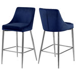 Meridian Furniture - Karina Velvet Stool, Set of 2, Navy, Chrome Base - Yield to your contemporary side with this Karina Navy Velvet Stool. This modern stool is counter height, making it an ideal addition to a home bar or eat-in kitchen counter. The navy velvet upholstery brings a neutral element to your room, so it can easily meld with other furnishings. Plump seat and back cushions ensure that guests sit comfortably, whether they're enjoying a sudsy brew or a stack of pancakes. The polished chrome metal frame is sturdy and stout, adding a durable slant to this lovely stool.