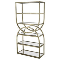 Intersecting Rounds Bookcase, Gold Leaf
