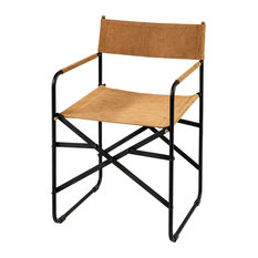 Direttore Tan Iron Frame Black Leather Dining Chair