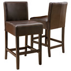 Clifton Leather Bar Stools Set Of 2 Contemporary Bar