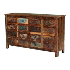 Appalachian Rustic Reclaimed Wood Apothecary Cabinet With 16 Drawers