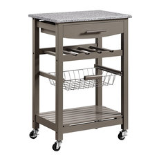 Kitchen Island With Casters, Elegant Granite Top and Front Drawer, Grey