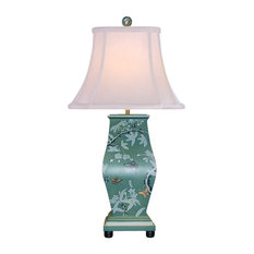 """Green Porcelain Lacquer Style Square Vase Table Lamp 27"""""""