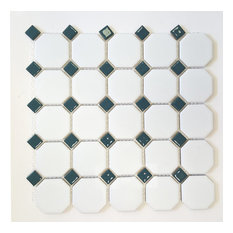 Matte White With Shiny Teal Dot Octagon Porcelain Mosaic Tile,Full Sheet Sample