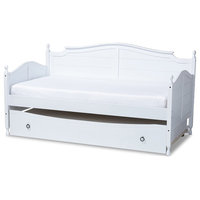 Baxton Studio Mara White Wood Twin Size Daybed With Roll-Out Trundle Bed