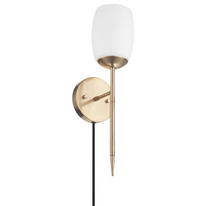 Globe Electric Celestia 2Light Matte Brass Wall Sconce with Frosted Glass Shades