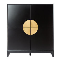 Xian 4-Door Contemporary Sideboard, Matte Black and Brushed Gold