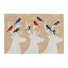 "Liora Manne - Liora Manne Frontporch Deer and Friends Indoor/Outdoor Rug, Natural, 20""x30"" - Doormats"