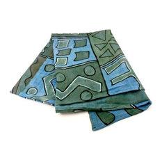 African Blue and Green Bogolan Festival Throw Blanket