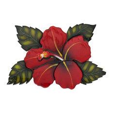 "Single Hibiscus Ceramic Swimming Pool Mosaic 10""x7"", Red"