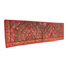 Mogul Interior - Consigned Indian and Sari Red Sequin Embroidered Tapestry - Table Runners