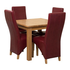 Oslo Oak Square Dining Table With 4 Lola Chairs, 90 cm, Burgundy Leather