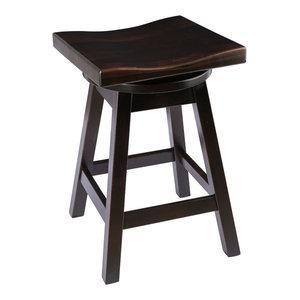 "Rustic Swivel Saddle Stool, Maple Wood, Onyx, Counter Height, 24"""