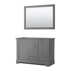 Avery 48-inch Dark Gray Double Vanity No Top No Sinks 46-inch Mirror