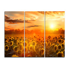 """Yellow Sunset over Sunflowers"" Photography Wall Art, 3 Panels, 36""x28"""