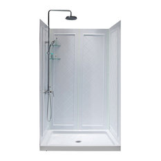 dreamline slimline single threshold shower base u0026 qwall5 shower backwalls kit shower