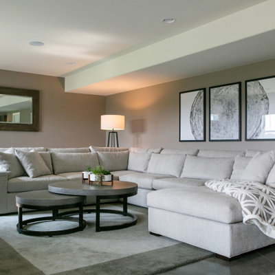 Large trendy walk-out concrete floor and gray floor basement photo in Milwaukee with gray walls