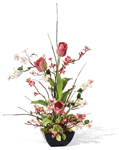 Cherry blossom dogwood and tulip silk flower arrangement mightylinksfo