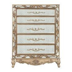 19-inchx42-inchx56-inch Antique Gold Wood Mirror Chest