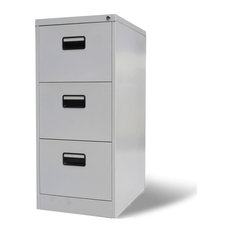 VidaXL Metal Hanging File Cabinet, Grey, 3-Drawer