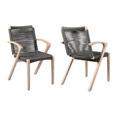 Brielle Outdoor Patio Gray Rope Arm Chair, Earth Finish, Set of 2, Charcoal