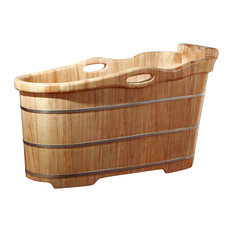 "57"" Free Standing Rubber Wood Soaking Bathtub With Headrest, Natural Wood"