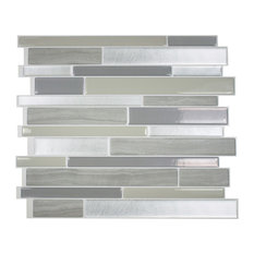 Smart Tile Milano Grigio Peel and Stick 3D Gel-O Wall Tiles Mosaik, Set of 4