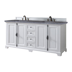"Providence 72"" Double Vanity Cabinet, Cottage White, 4CM Black Rustic Stone Top"