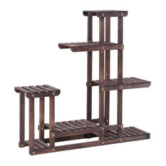 Contemporary Plant Storage Rack, Natural Wood With 6 Open Shelves for Storage