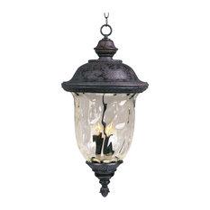 Maxim Carriage House DC Three Light Oriental Bronze Water Glass Hanging Lantern