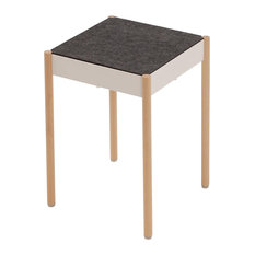 La Table Stackable Metal Stool With Felt Seat, White