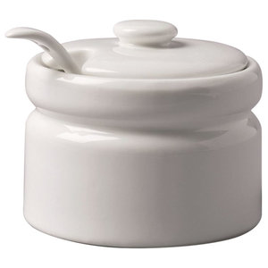 WM Bartleet and Sons Ceramic, White Large Sugar/Jam Pot With Spoon