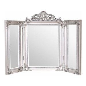 Traditional Stylish Tri Folding Mirror, Ornate Frame Design, Antique Silver
