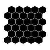 "11.06""x12.8"" Porcelain Mosaic Tile Sheet Barcelona Glossy Black, Set of 10"