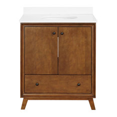 """Delias Vanity With Sink, Chocolate Spice, 30"""""""